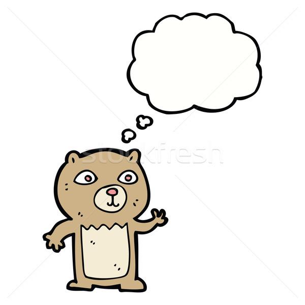 Desenho animado ursinho de pelúcia balão de pensamento mão projeto Foto stock © lineartestpilot