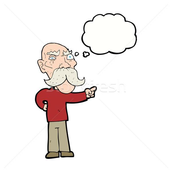 Cartoon agacé vieillard pointant bulle de pensée main Photo stock © lineartestpilot