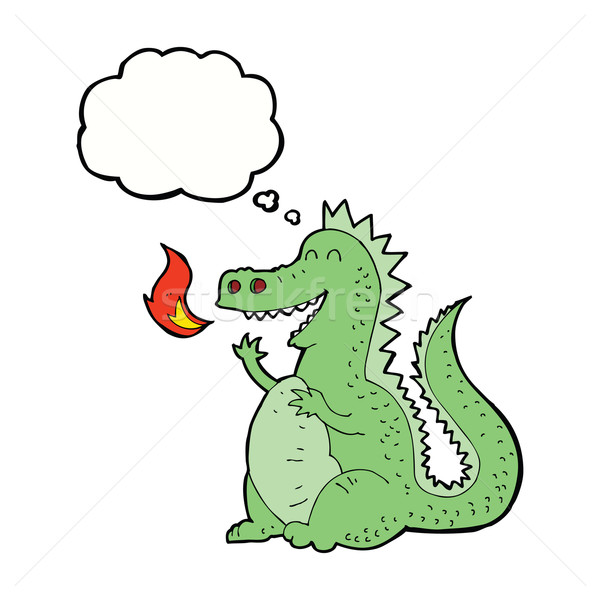cartoon fire breathing dragon with thought bubble Stock photo © lineartestpilot