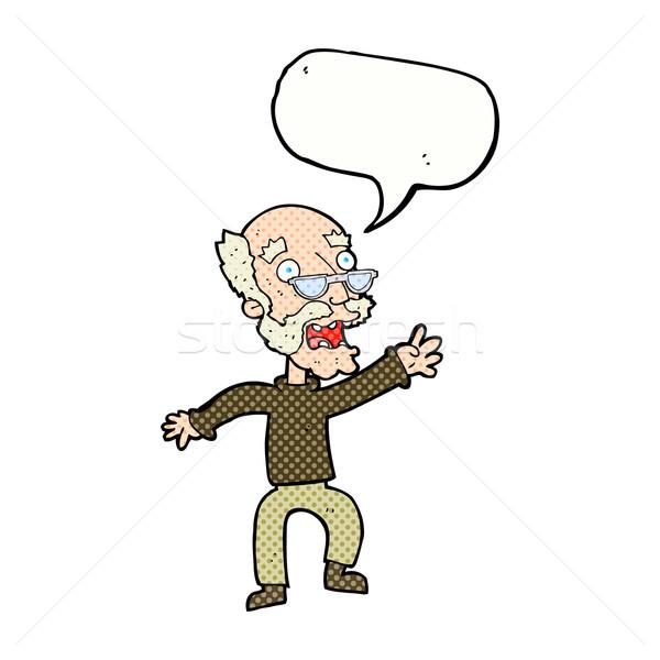 Cartoon przestraszony stary dymka strony człowiek Zdjęcia stock © lineartestpilot