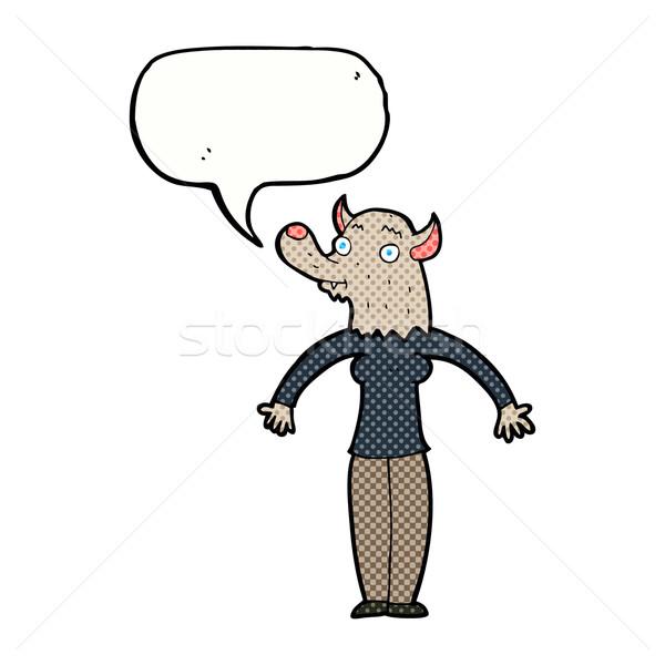 Cartoon дружественный оборотень женщину речи пузырь стороны Сток-фото © lineartestpilot