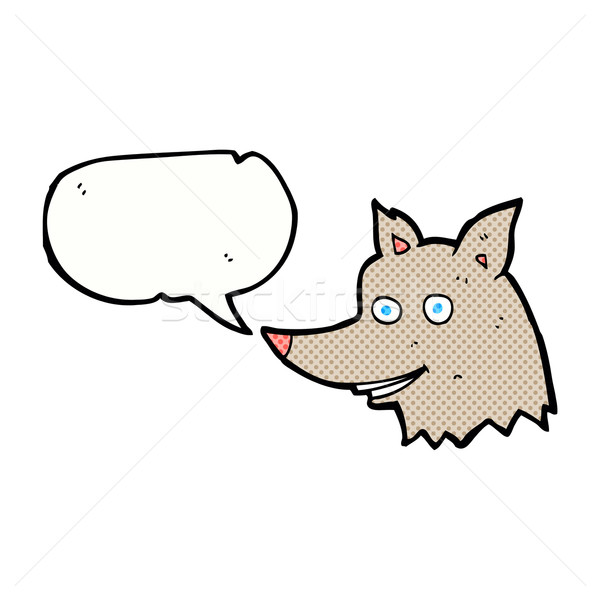 Rajz farkas fej szövegbuborék kéz terv Stock fotó © lineartestpilot