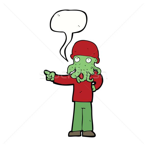 Desenho animado alienígena monstro homem balão de fala mão Foto stock © lineartestpilot