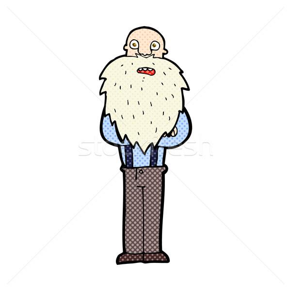 Képregény rajz szakállas idős férfi retro képregény Stock fotó © lineartestpilot