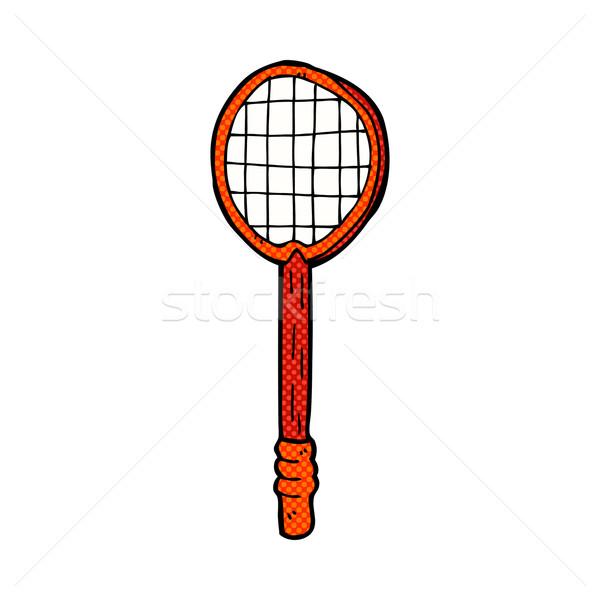 comic cartoon old tennis racket Stock photo © lineartestpilot