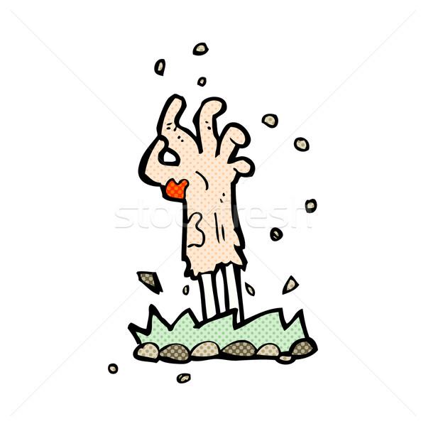 Cômico desenho animado zumbi mão terreno Foto stock © lineartestpilot
