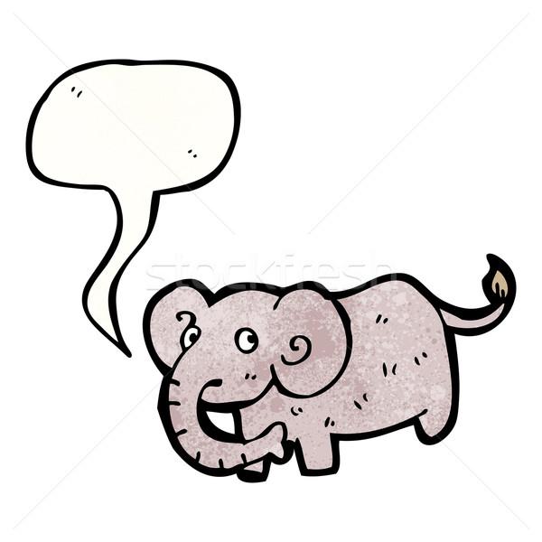 Cartoon слон речи пузырь говорить ретро рисунок Сток-фото © lineartestpilot