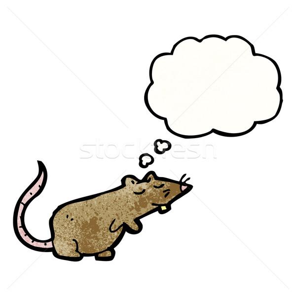 Stok fotoğraf: Karikatür · sıçan · düşünce · balonu · konuşma · Retro · düşünme