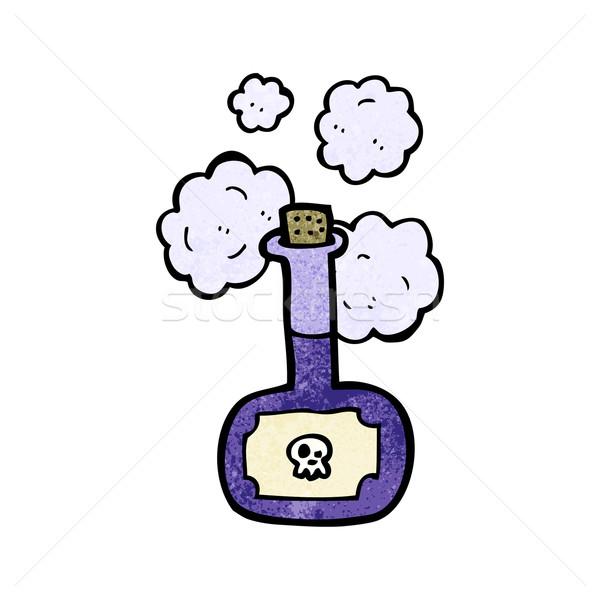 Veneno garrafa desenho animado crânio falante retro Foto stock © lineartestpilot