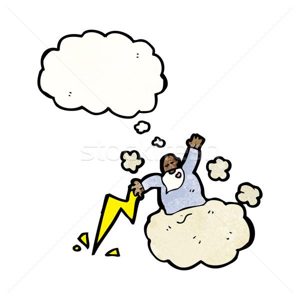 Rajz Isten felhő retro gondolkodik menny Stock fotó © lineartestpilot