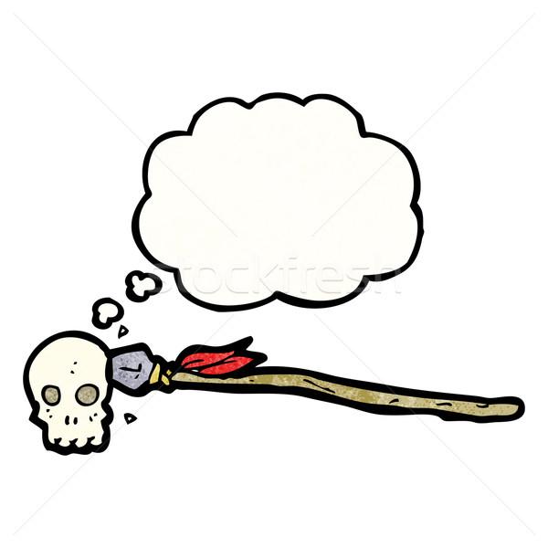 Lance crâne cartoon rétro dessin idée Photo stock © lineartestpilot
