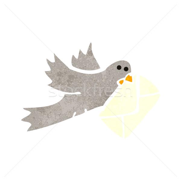 retro cartoon carrier pigeon Stock photo © lineartestpilot