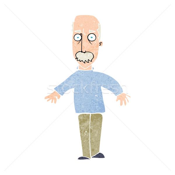 Cartoon agacé vieillard homme design art Photo stock © lineartestpilot