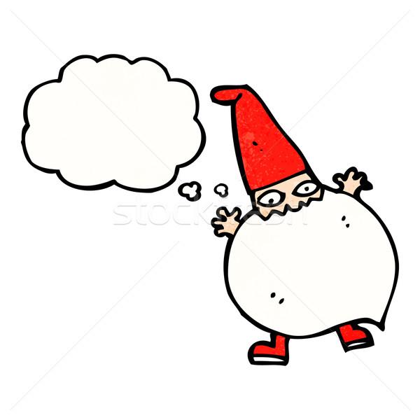 Cartoon malutki Święty mikołaj bubble myśl strony projektu Zdjęcia stock © lineartestpilot
