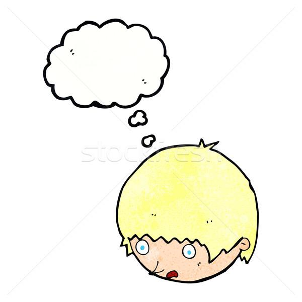Cartoon лице мысли пузырь стороны человека Сток-фото © lineartestpilot