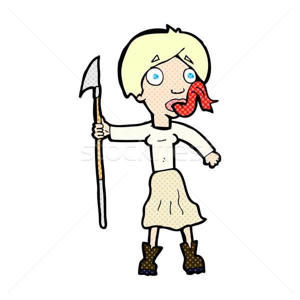 Cômico desenho animado mulher lança fora língua Foto stock © lineartestpilot