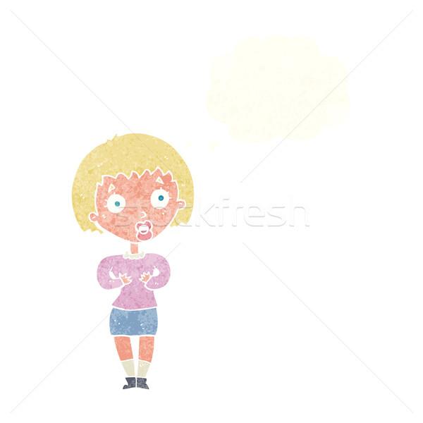 Desenho animado mulher me gesto balão de pensamento Foto stock © lineartestpilot