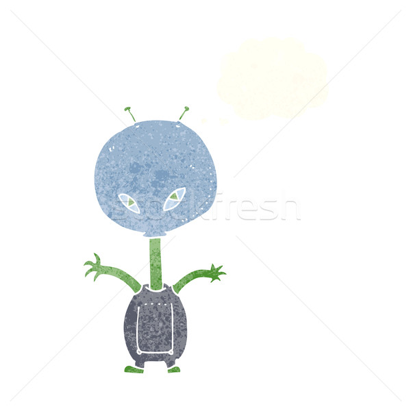 Desenho animado espaço alienígena balão de pensamento mão projeto Foto stock © lineartestpilot