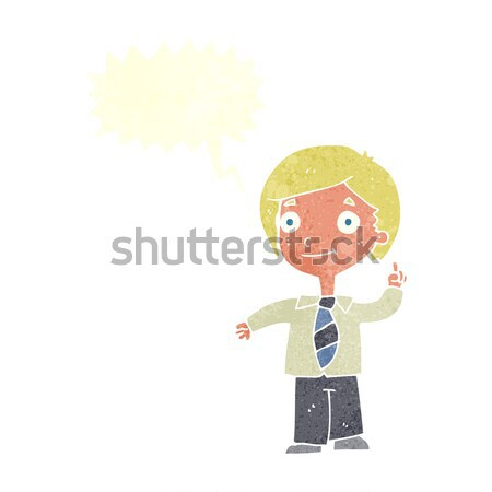 Stock photo: cartoon schoolboy answering question with thought bubble