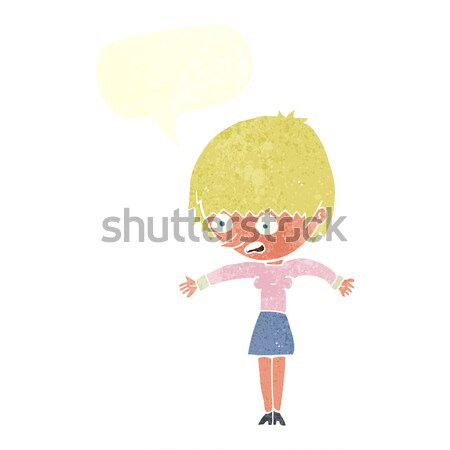cartoon woman panicking with thought bubble Stock photo © lineartestpilot