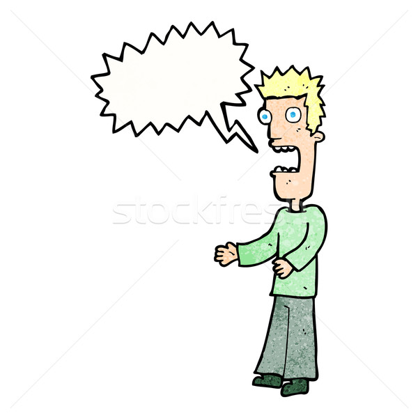 cartoon man freaking out with speech bubble Stock photo © lineartestpilot