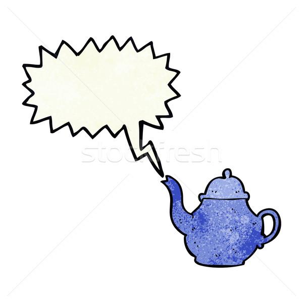 Cartoon theepot tekstballon hand ontwerp kunst Stockfoto © lineartestpilot