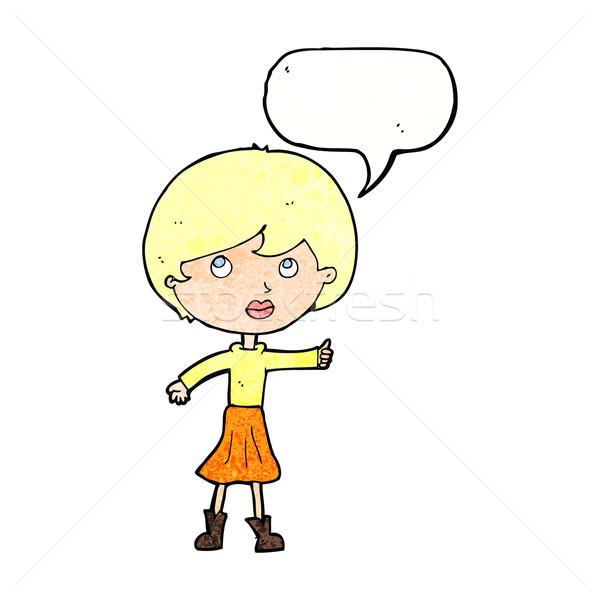 Desenho animado mulher pergunta balão de fala mão Foto stock © lineartestpilot