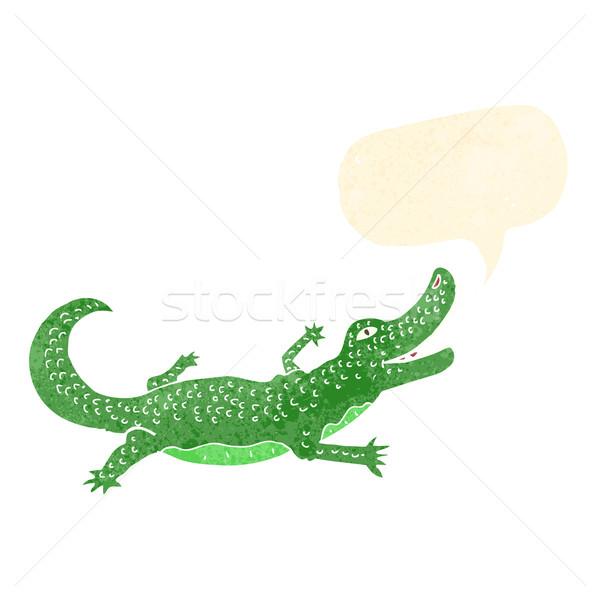 Cartoon крокодила речи пузырь стороны дизайна искусства Сток-фото © lineartestpilot