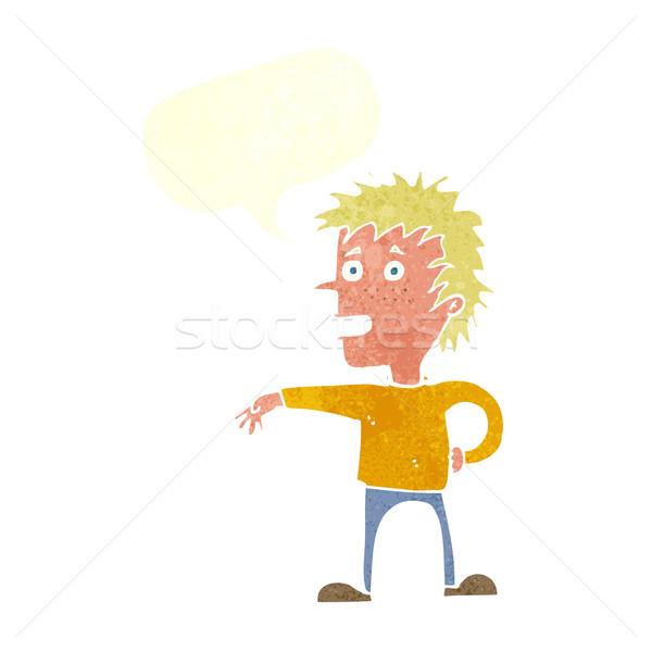 cartoon man making dismissive gesture with speech bubble Stock photo © lineartestpilot