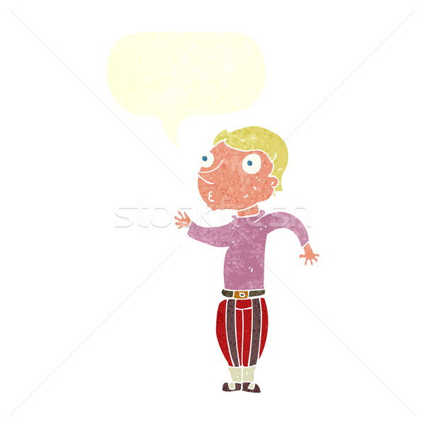 cartoon man in loud clothes with speech bubble Stock photo © lineartestpilot