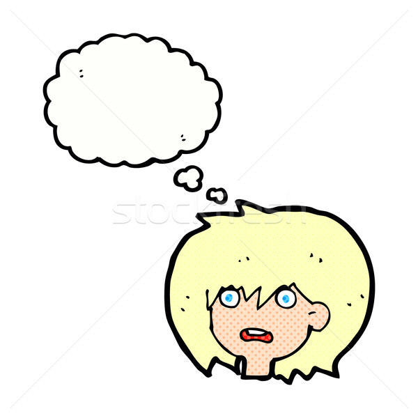 cartoon shocked expression  with thought bubble Stock photo © lineartestpilot