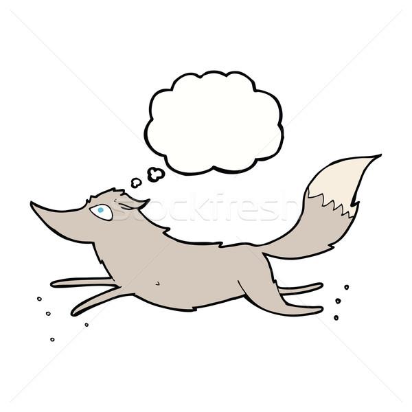 Сток-фото: Cartoon · волка · работает · мысли · пузырь · стороны · дизайна