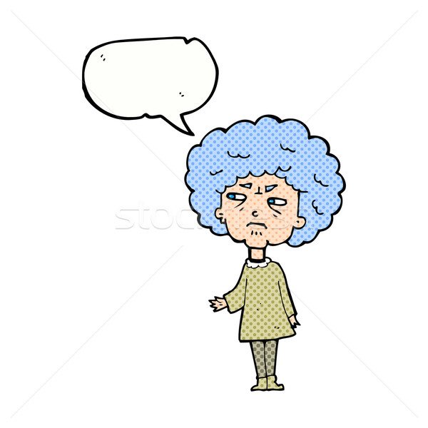 cartoon old lady with speech bubble Stock photo © lineartestpilot