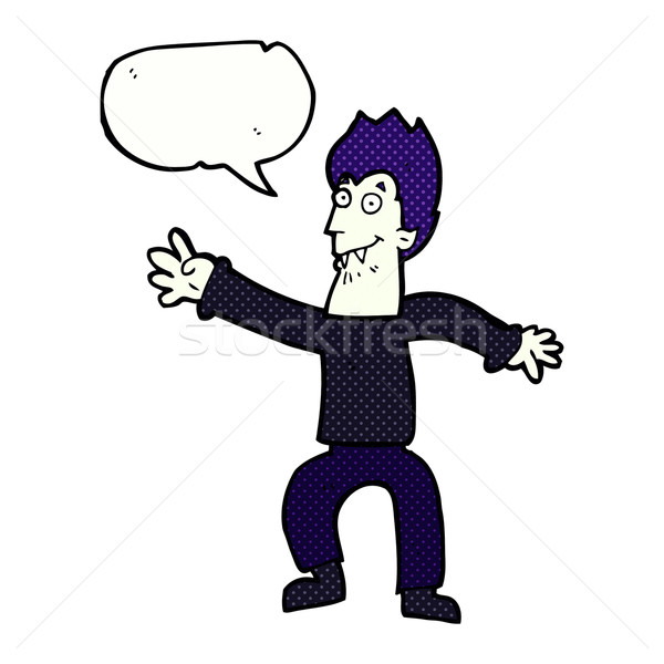 cartoon vampire with speech bubble Stock photo © lineartestpilot