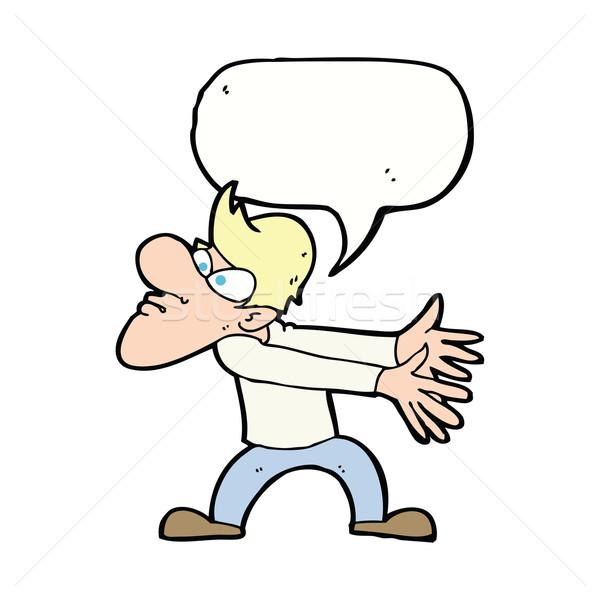 Desenho animado irritado homem balão de fala mão Foto stock © lineartestpilot