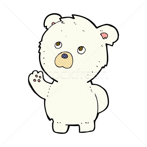 Komische cartoon ijsbeer retro Stockfoto © lineartestpilot