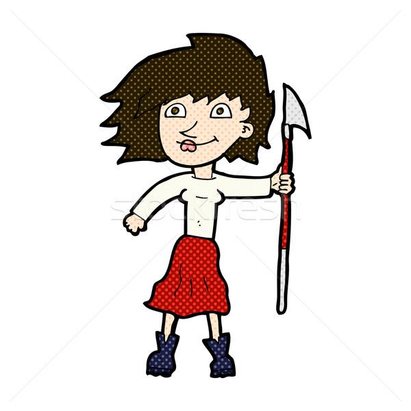 Dessinées cartoon femme lance rétro Photo stock © lineartestpilot