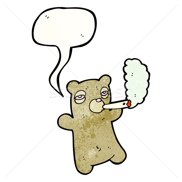 Cartoon osito de peluche fumar marihuana Foto stock © lineartestpilot