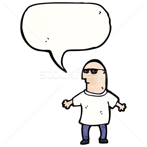ストックフォト: 漫画 · ボディーガード · 話し · レトロな · 図面 · サングラス