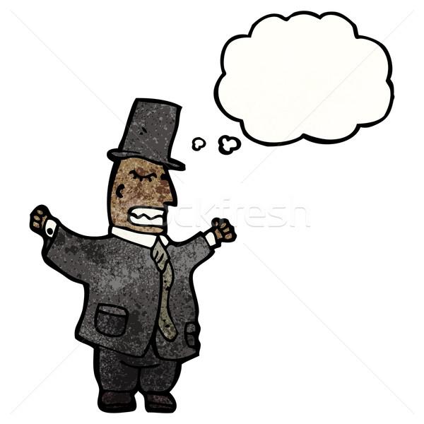 Rajz gazdag úriember öltöny beszél retro Stock fotó © lineartestpilot