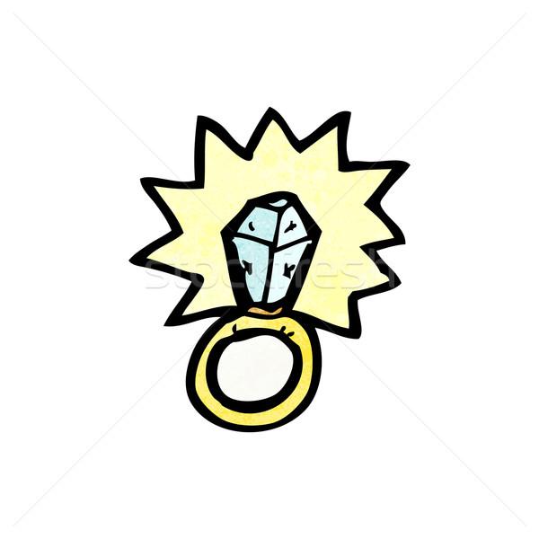 Hatalmas gyémántgyűrű rajz beszél retro rajz Stock fotó © lineartestpilot
