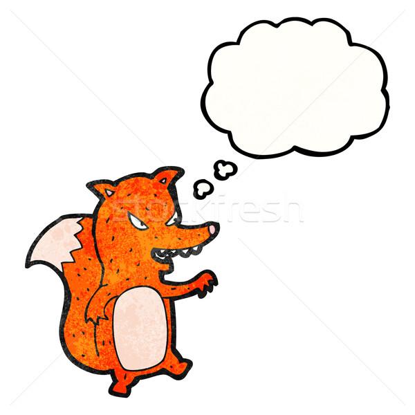 Karikatür sinsi tilki sanat Retro hayvan Stok fotoğraf © lineartestpilot