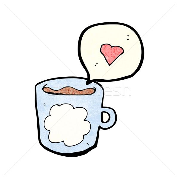 Desenho animado caneca de café café arte retro quente Foto stock © lineartestpilot