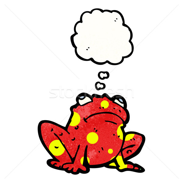 Mérgező béka gondolatbuborék retro rajz rajz Stock fotó © lineartestpilot