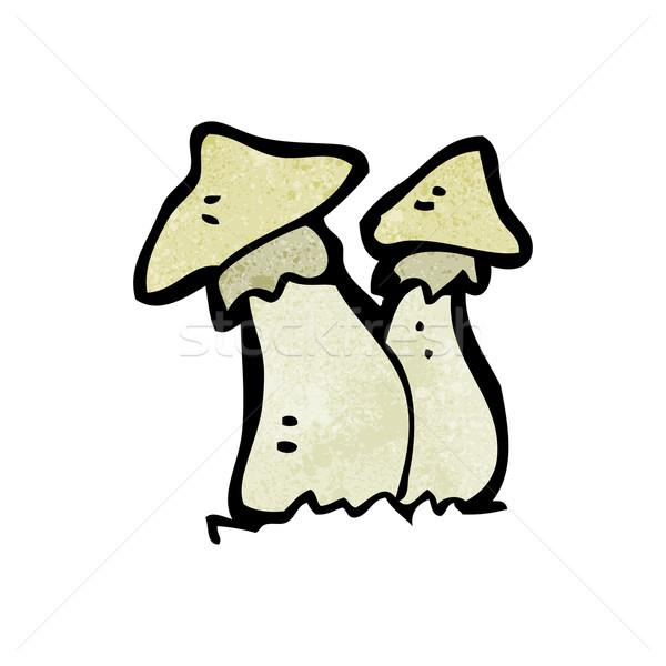 Desenho animado arte retro desenho cogumelos bonitinho Foto stock © lineartestpilot