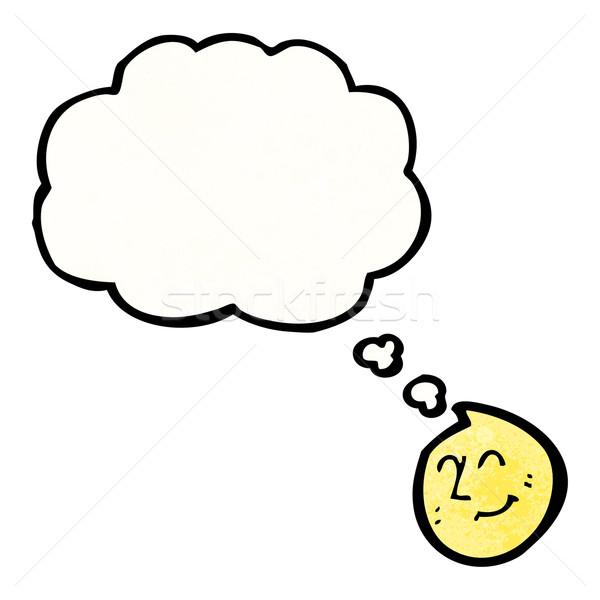 Cara feliz burbuja de pensamiento Cartoon retro textura aislado Foto stock © lineartestpilot