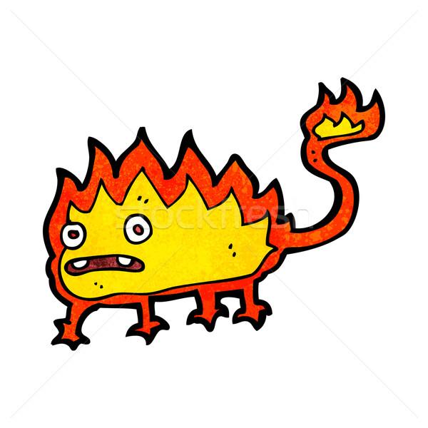Karikatur wenig Feuer Dämon Hand Design Stock foto © lineartestpilot
