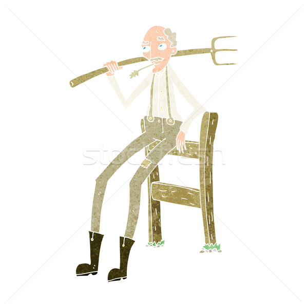 cartoon old farmer leaning on fence Stock photo © lineartestpilot