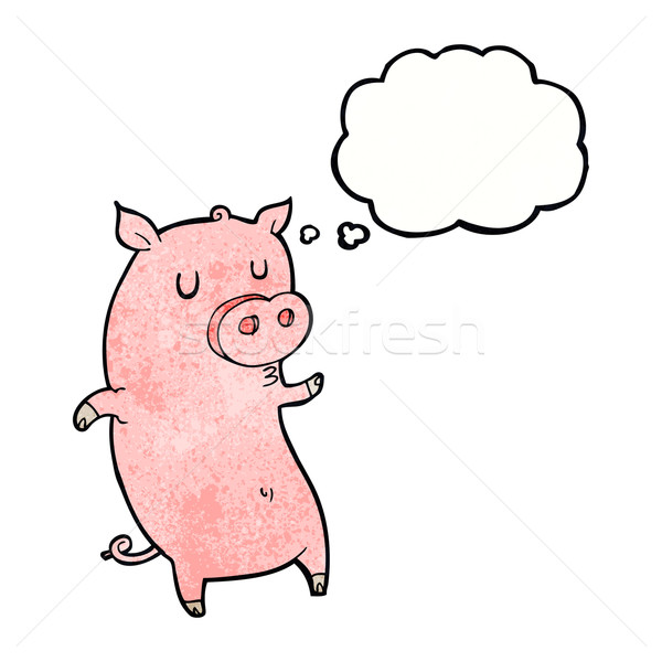 funny cartoon pig with thought bubble Stock photo © lineartestpilot