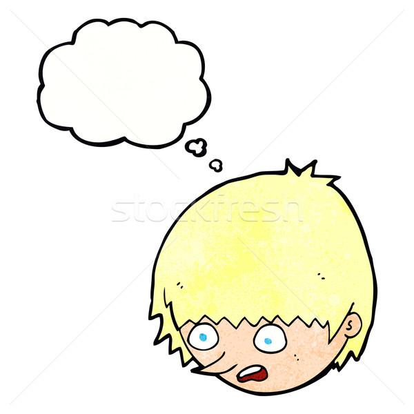 cartoon stressed face with thought bubble Stock photo © lineartestpilot